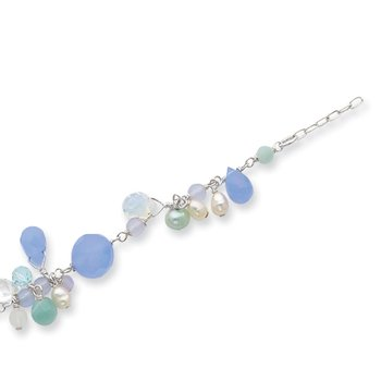 Sterling Silver Lace Agate/Opalite Crystal/Amazonite/FW Cult.Pearl Bracelet