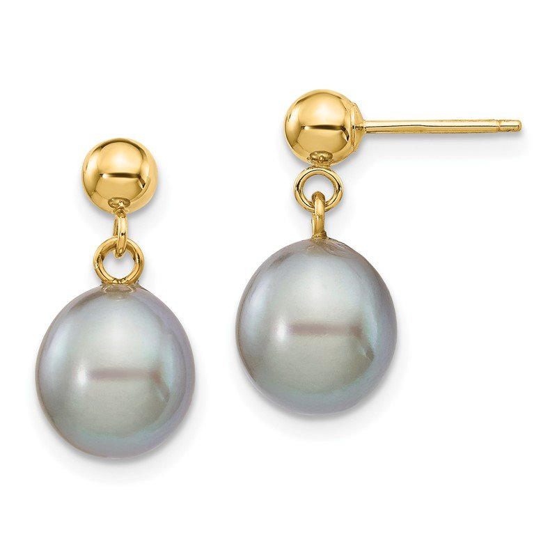 Quality Gold 14k 8-9mm Grey Rice Freshwater Cultured Pearl Dangle Post Earrings