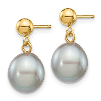 14k 8-9mm Grey Rice Freshwater Cultured Pearl Dangle Post Earrings