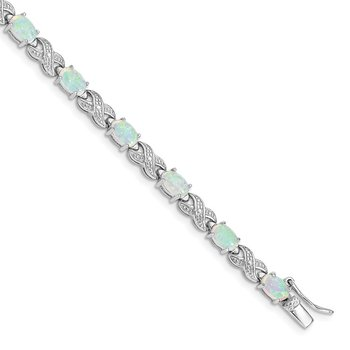 Sterling Silver Rhodium Plated 7inch Created Opal XO Bracelet