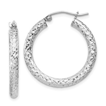 Sterling Silver Rhodium-plated D/C 3x25mm Hoop Earrings