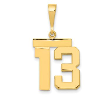14k Medium Polished Number 13 Charm