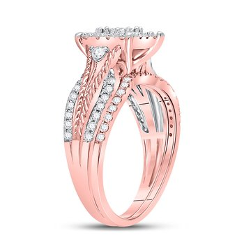 10kt Rose Gold Womens Round Diamond Cable Bridal Wedding Engagement Ring Band Set 7/8 Cttw