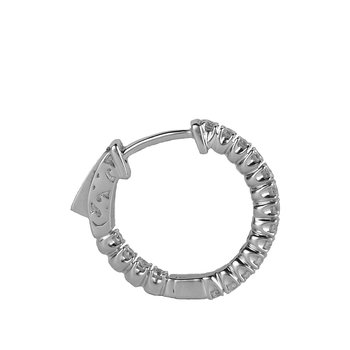 14K WG Diamond 0.75 Cts. Inside Out Hoop Earring 4 Prong 20MM