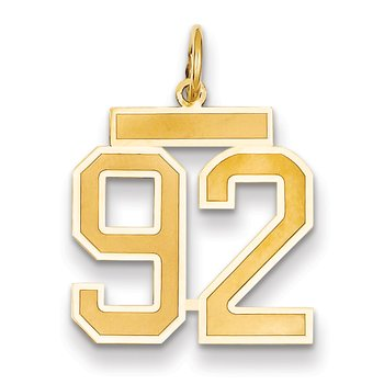 14k Medium Satin Number 92 Charm