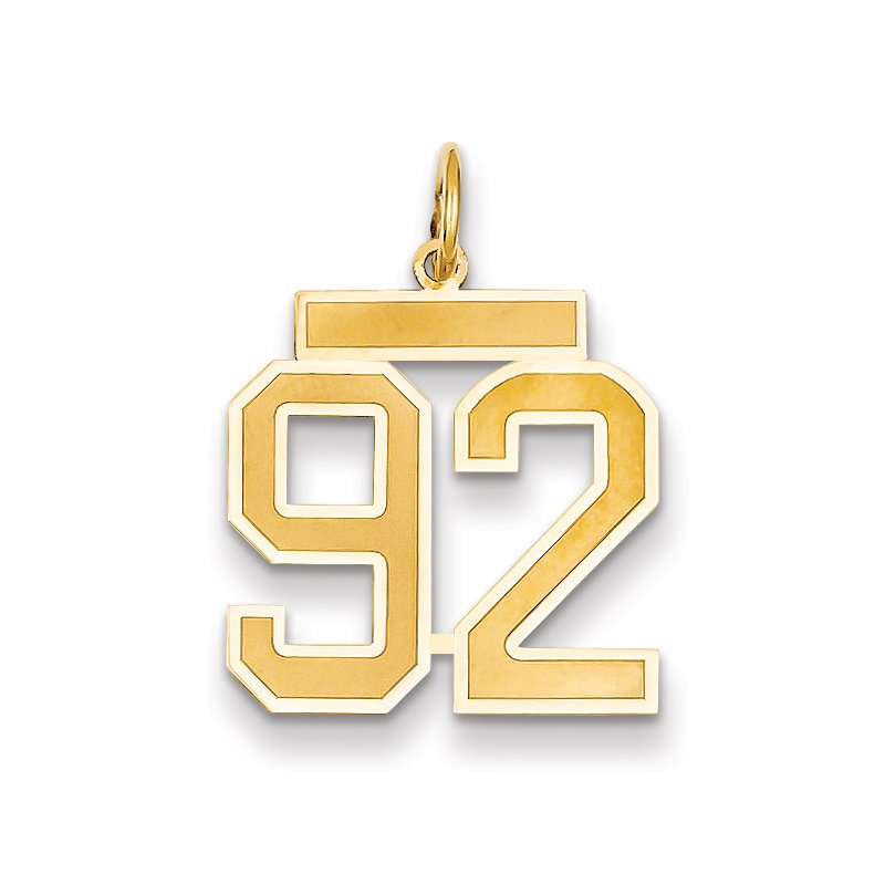 Quality Gold 14k Medium Satin Number 92 Charm