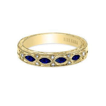 Engraved Sapphire Diamond Wedding Band