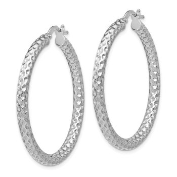 Leslie's Sterling Silver Polished & Textured Hinged Hoop Earrings
