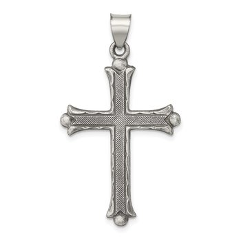 Sterling Silver Antiqued, Polished and Brushed Latin Cross Pendant