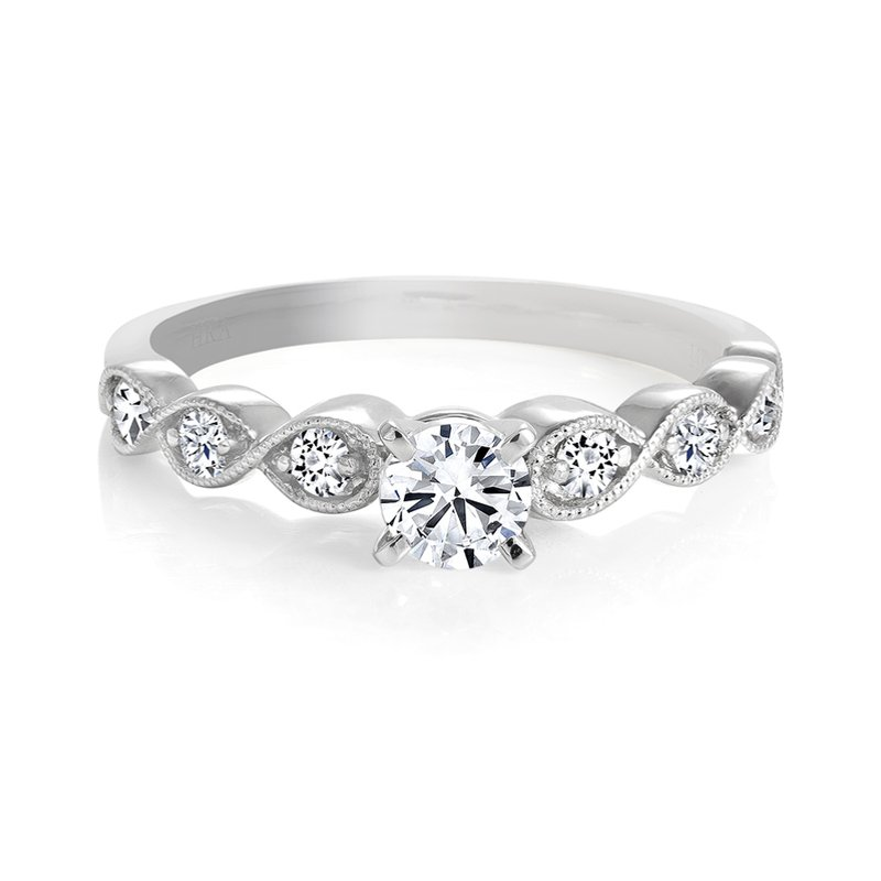 Engagement Ring with Milgrain Diamond Details