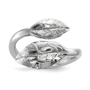 Sterling Silver Rhodium-plated Leaf Ring
