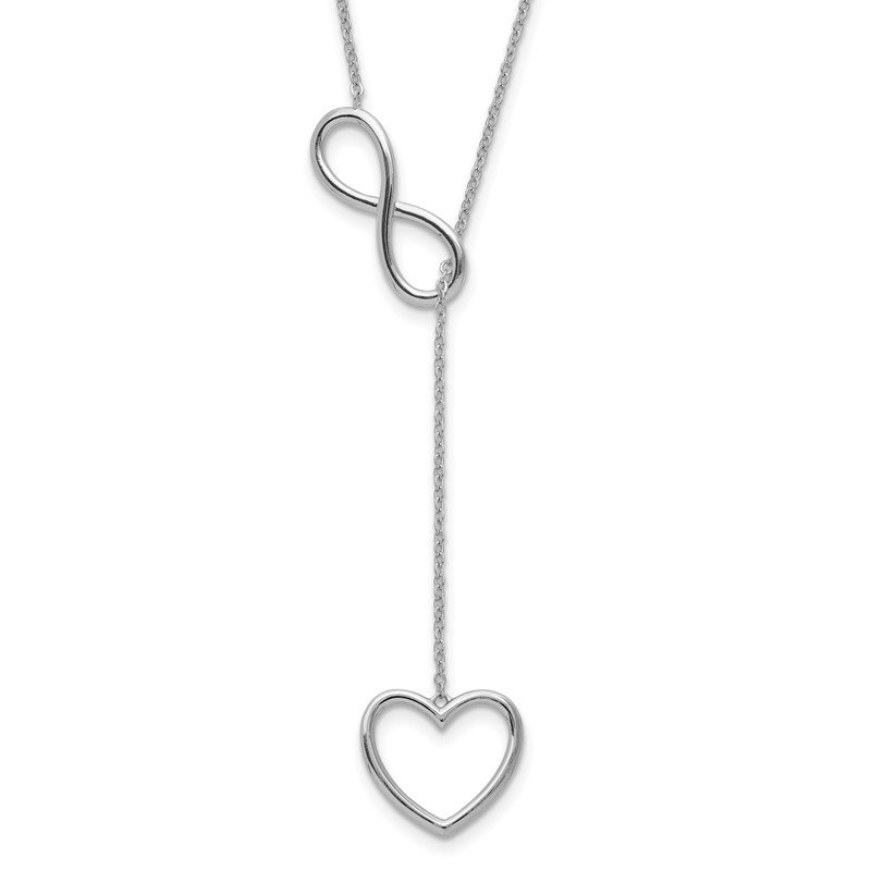 Quality Gold Sterling Silver Rhod-plated Infinity Drop Heart w/2 in ext Necklace
