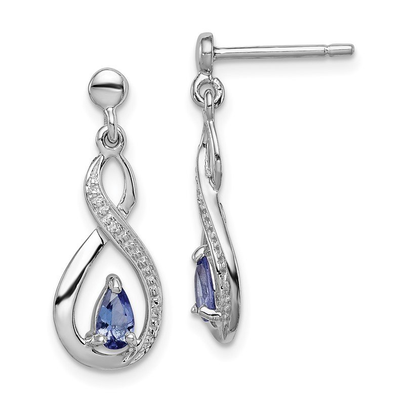 Quality Gold Sterling Silver Rhodium-plated Tanzanite & Diamond Earrings