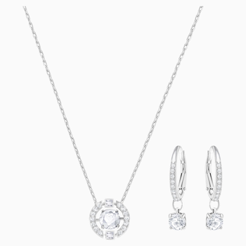 Sparkling Dance Round Set, Small, White, Rhodium Plating