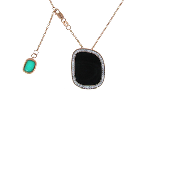18KT GOLD PENDANT WITH BLACK JADE, DIAMONDS AND GREEN AGATE