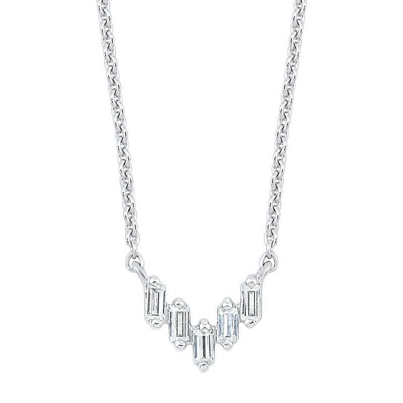 Gems One Diamond Baguette Icicle Chevron Necklace in 14k White Gold (1/10ctw)