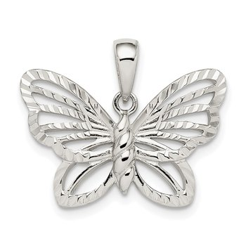 Sterling Silver Diamond-cut Butterfly Pendant