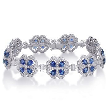 White Gold Saphhire & Diamond Bracelet