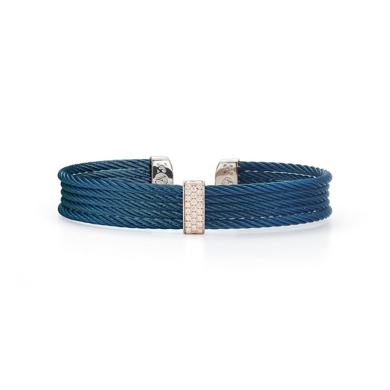 ALOR Blueberry Cable Mini Cuff with 18kt Rose Gold & Diamonds