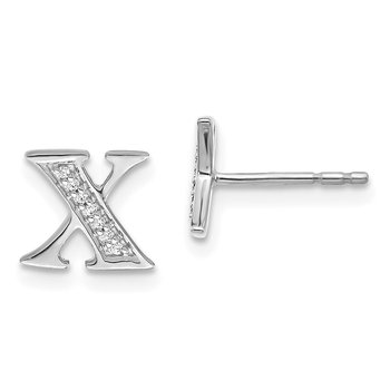 14k White Gold Diamond Initial X Earrings