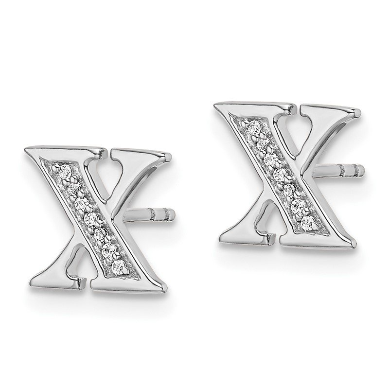 Quality Gold 14k White Gold Diamond Initial X Earrings