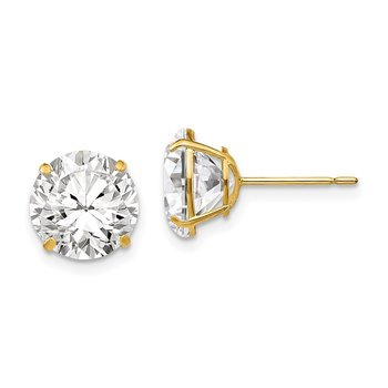 14k 9mm Round CZ Post Earrings
