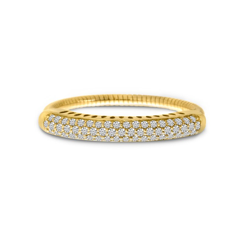 14K Yellow Gold Stretch Diamond Band Comfort Ring (.33 ct)