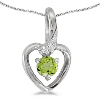 14k White Gold Round Peridot And Diamond Heart Pendant