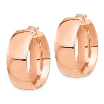 14k Rose Gold High Polished Small 10mm Hoop Earrings