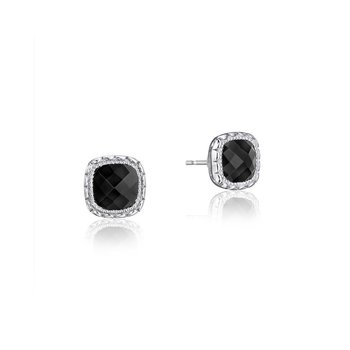Cushion Gem Earrings with Black Onyx