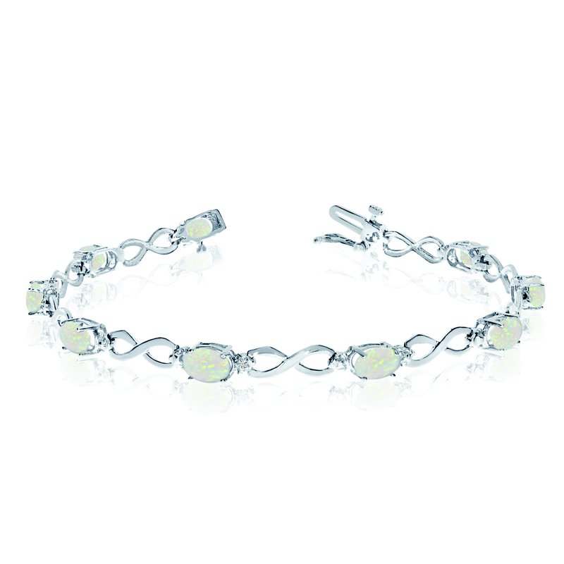 Color Merchants 14K White Gold Oval Opal and Diamond Bracelet