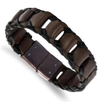 Stainless Steel Polished Brown IP-plated Black/Brown Leather Bracelet