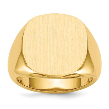 14k 17.0x17.0mm Open Back Mens Signet Ring