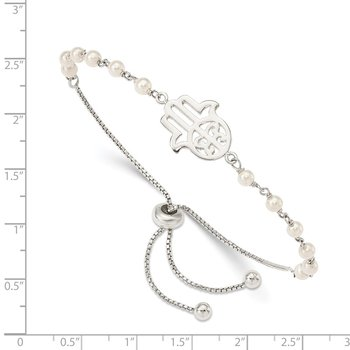 Sterling Silver Hamsa w/ FWC Pearl Adjustable Bracelet