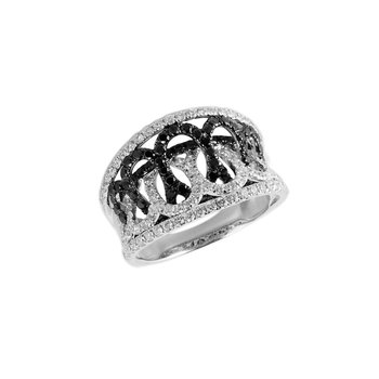 14K WG Black and White Diamond Fashion Ring
