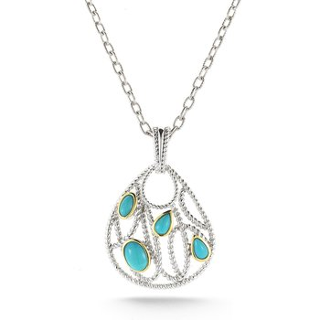 Sterling Silver and 14K Pear shape Turquoise Pendant