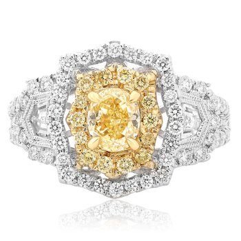 Mixed Cut Yellow Diamond Ring