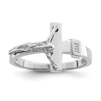 14K White Polished INRI Crucifix Ring
