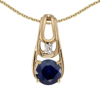 14k Yellow Gold Round Sapphire And Diamond Pendant