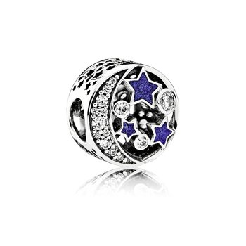 Vintage Night Sky, Shimmering Midnight Blue Enamel Clear Cz