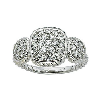 KC Designs Diamond Fashion Ring in 14k White Gold with 33 Diamonds weighing .64ct tw.