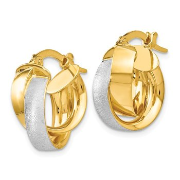 Leslie's 14K w/Rhodium-plated Polished & Textured Hoop Earrings