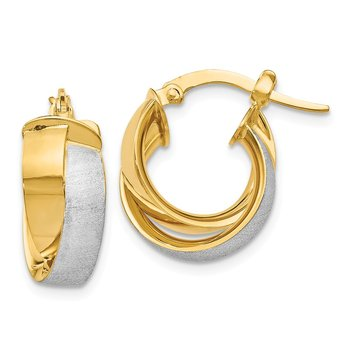 Leslie's 14k w/ Rhodium Plated Polished & Textured Hoop Earrings