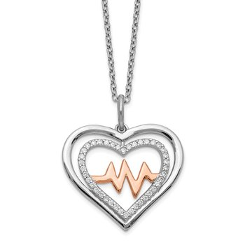 Sterling Silver RH-plated Rose-tone CZ Heartbeat w/2in ext Necklace