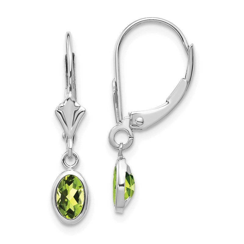 Quality Gold 14k White Gold 6x4 Oval Bezel August/Peridot Leverback Earrings