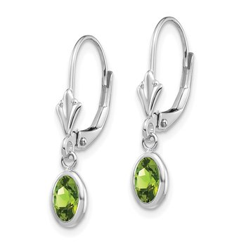14k White Gold 6x4 Oval Bezel August/Peridot Leverback Earrings