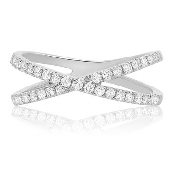 White Gold & Diamond Criss Cross Ring