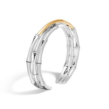 Bamboo 12MM Flex Cuff in Silver and 18K Gold