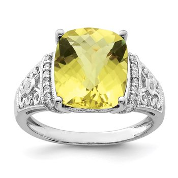 Sterling Silver Rhodium Diam. & Checker-Cut Lemon Quartz Ring