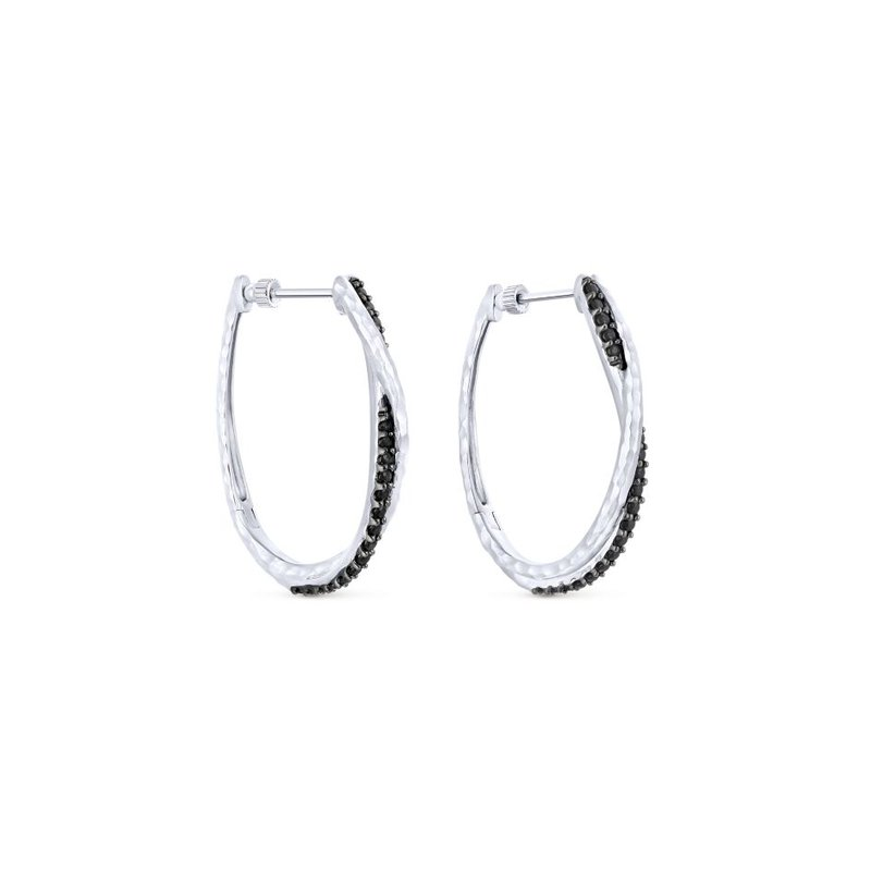 Gabriel Fashion 925 Sterling Silver Hammered Twisted 35mm Black Spinel Hoop Earrings